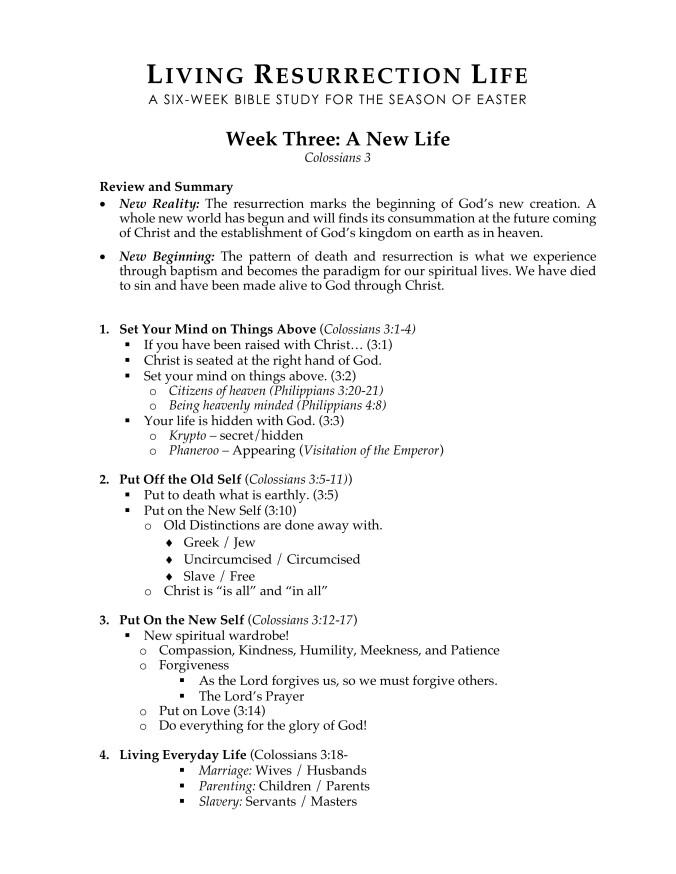 Living Resurrection Life WEEK THREE